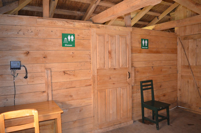 Shower and toilet facilities inside cabin