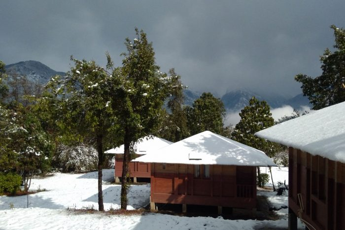 Snow and cabins